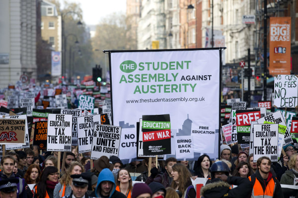 Image: Student protesters walk through central London