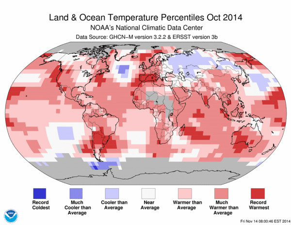 Image: Map showing land and ocean temperature percentiles for October 2014