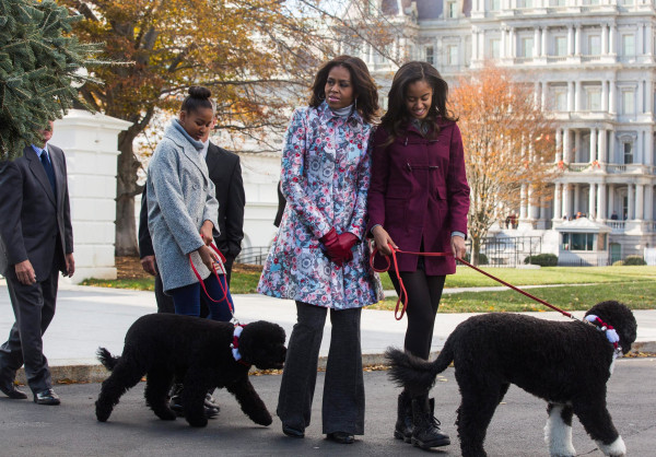 Image: First Lady Michelle Obama Welcomes Official White House Christmas Tree