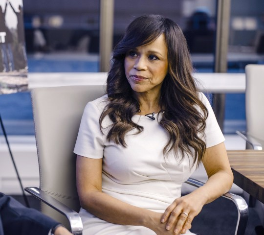Image: Rosie Perez is interviewed by Raul Reyes on Tuesday, December 2, 2014 in New York, NY as a part of her Pine-Sol Women Rise Above It Campaign.