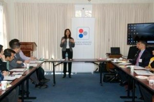 Bhojwani conducting a NALP training in New Jersey.
