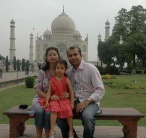 Sayu Bhojwani with her husband, Anshu, and their daughter, Yadna in India, June 2010.