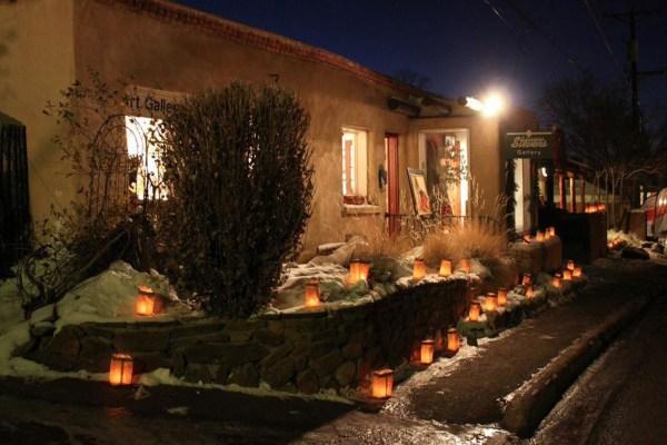 Image: Holiday candle display in Santa Fe
