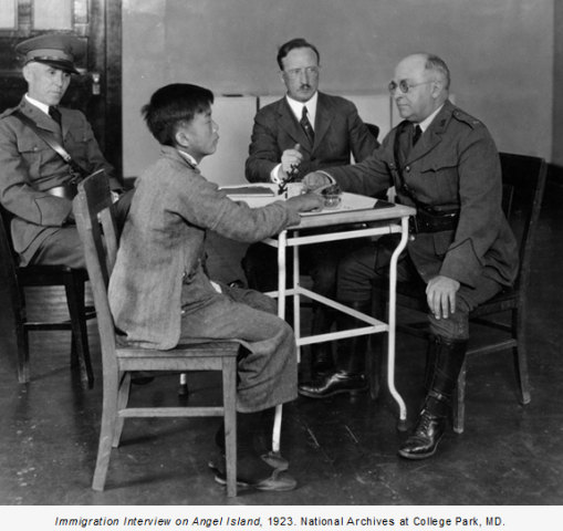 When the exclusion law was in effect, Chinese immigrants were often subjected to detention and questioning at San Francisco's Angel Island. Interview, 1923