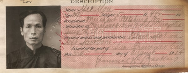 The U.S. issued identity cards to distinguish legal immigrants who entered before the exclusion law. Certificate of identity, 1914.