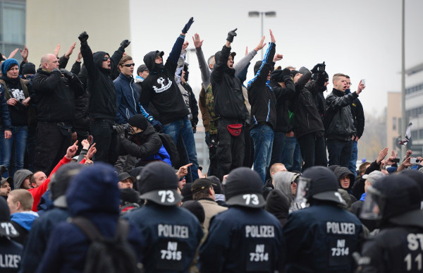 """Image: A """"Hooligans Against Salfists"""" rally in Hanover, Germany, on Nov. 15"""