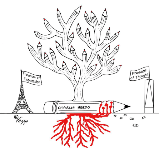 "Image: A drawing by Felipe Galindo called ""Homage to Charlie Hebdo."""