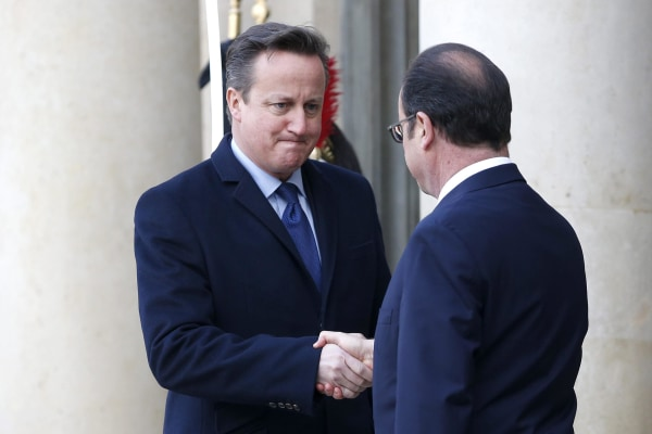 Image:  French President Francois Hollande (R) welcomes British Prime Minister David Cameron (L) at the Elysee Palace before they participate in a march to honor the victims of the terrorist attacks and to show unity, in Paris, France, 11 January 2014