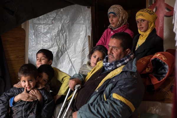 Abu Mustafa with his children.
