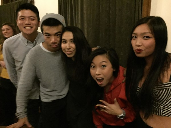 Image from an Awkwafina concert Alton Wang helped organize with the Asian American Student Collective at Wesleyan in 2014. (L to R: Alton Wang, Simon Chen, Nina Stender, Awkwafina, Lynna Zhong).