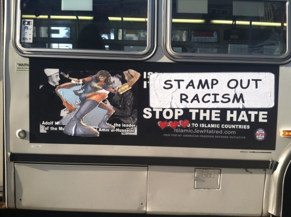 "One of the bus ads ""made over"" by San Francisco street artists, featuring Muslim comic heroine Ms. Marvel."