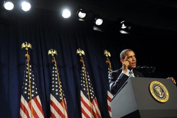 IMAGE: President Barack Obama speaks Thursday in Philadelphia