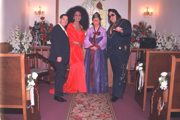 Maria the Korean Bride getting married to a Diana Ross impersonator at Elvis' White Wedding Chapel in Las Vegas, Nevada