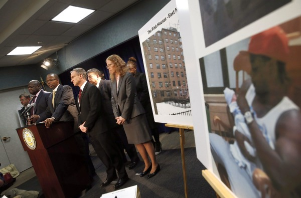 Image: Brooklyn District Attorney Thompson speaks at a news conference following the arraignment of NYPD officer Liang at the criminal court in the Brooklyn borough of New York City