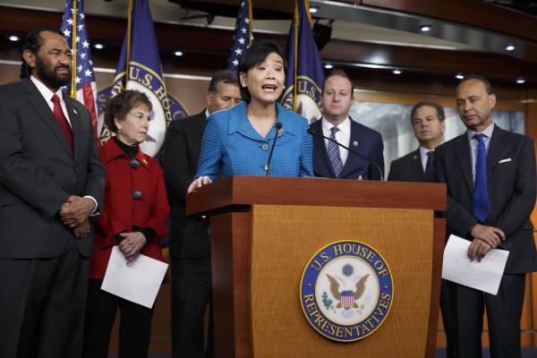 Image: Judy Chu, Al Green,  Jan Schakowsky, Juan Vargas, Jared Polis, David Cicilline, Luis Gutierrez