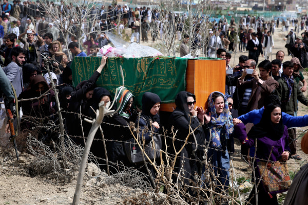 Image:  Afghan women carry Farkhunda's coffin on March 22