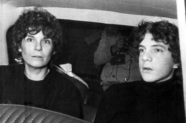 Image: Gail Harris arrives in a police car with her son John Paul Getty III