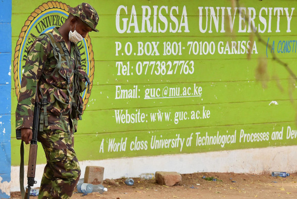 Image: A Kenya Defence forces soldier walks past the front entrance of Moi University Garissa