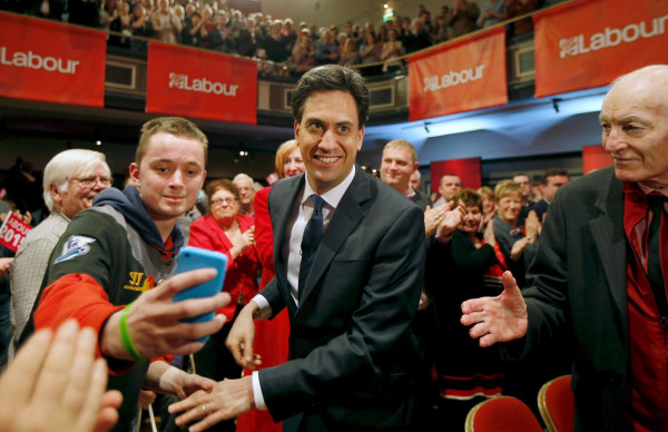Image: Britain's opposition Labour Party leader Ed Miliband arrives at an election campaign event in Warrington, north west England