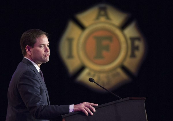 Image: Senator Marco Rubio (R-FL) addresses the International Association of Firefighters delegates at IAFF Presidential Forum