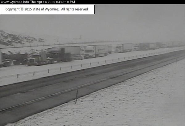 IMAGE: Stalled traffic on I-80 in Wyoming