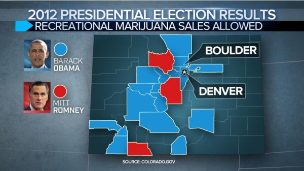 Colorado marijuana map as compared to the 2012 election map