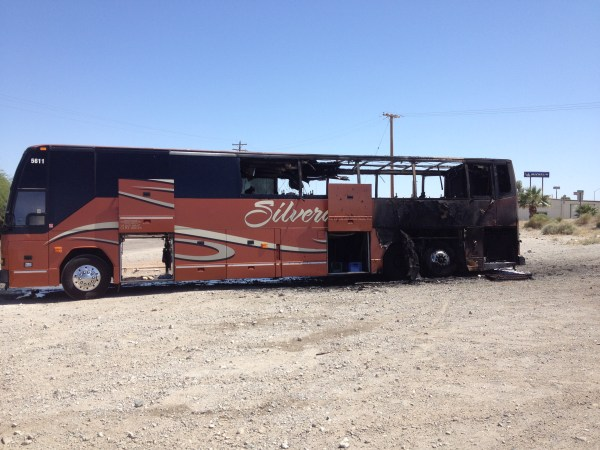 IMAGE: Burned-out bus near Needles, California