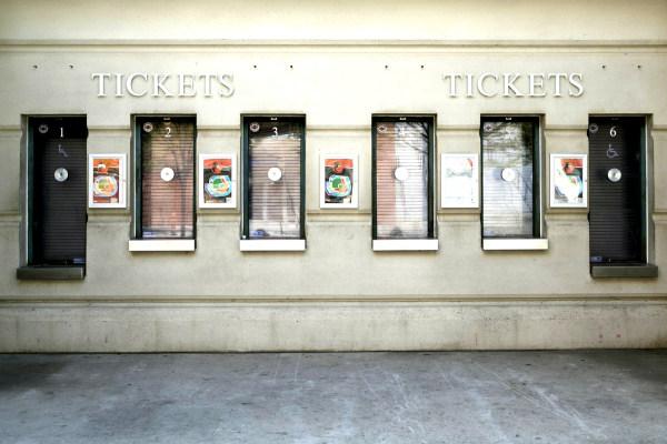 Image: Empty ticket windows are seen at Camden Yards ballpark closed