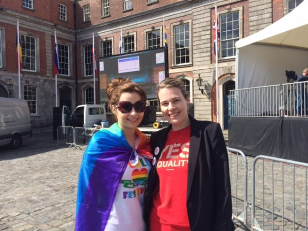 Image: Sisters Rebecca and Rachel Doyle from Enniscorthy, County Wexford, at Saturday's gay marriage referendum count.