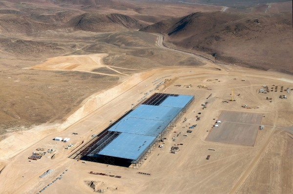 Image: The Tesla Gigafactory is shown under construction outside Reno, Nevada