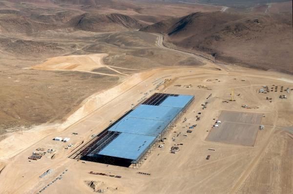 Image: The Tesla Gigafactory is shown under construction outside Reno, Nevada