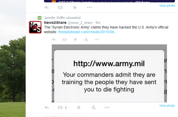 Image: Army website has been hacked
