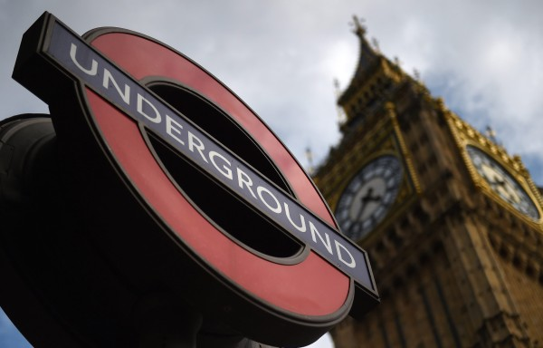 Image: A London Underground sign outside Westminster Station in London