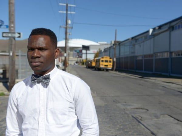 Image: Founder Jonathan Johnson is standing outside the KIPP school in New Orleans that he first taught at.