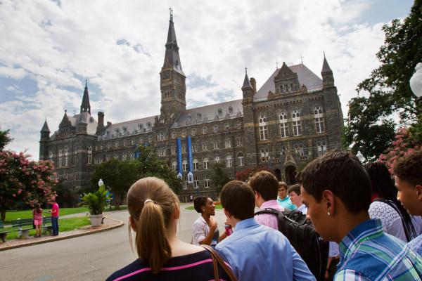 Image: Prospective students tour Georgetown University's campus (File photo)