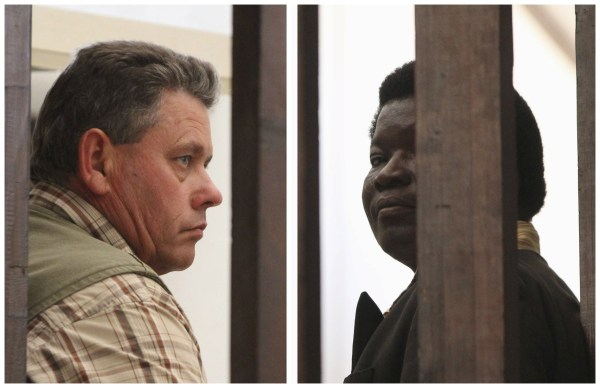 Image: A combination photo shows Zimbabwean safari operator Ndlovu and fellow countryman and hunter Bronkhorst waiting to appear in Hwange magistrates court