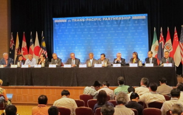 Image: Ministers from 12 nations negotiating a Pacific Rim trade pact