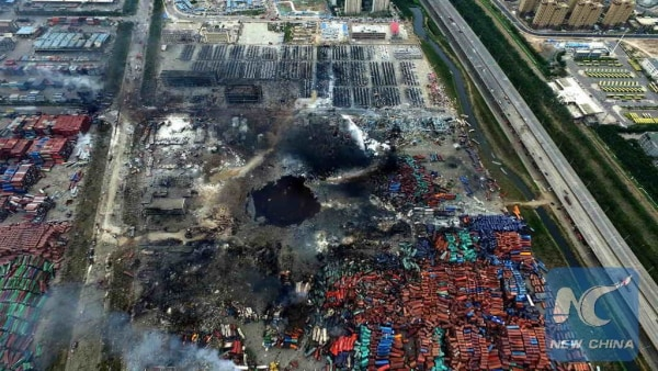 Image: A huge hole is seen at the core area of Tianjin blasts in this aerial photo.