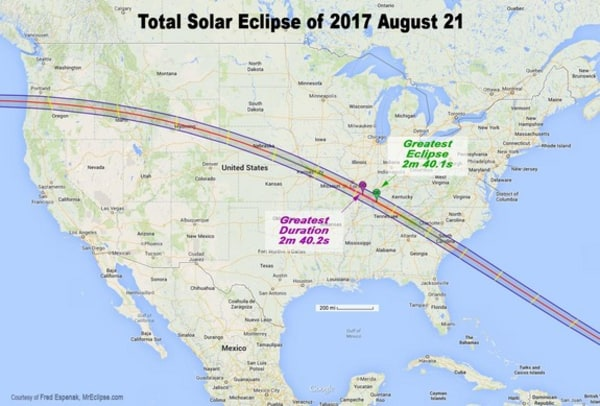 Image: Map showing the path of totality across U.S. for 2017 total solar eclipse