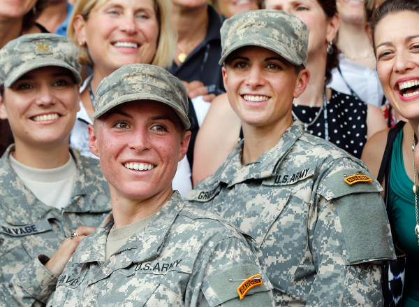 Image: U.S. Army First Lt. Shaye Haver, center, and Capt. Kristen Griest