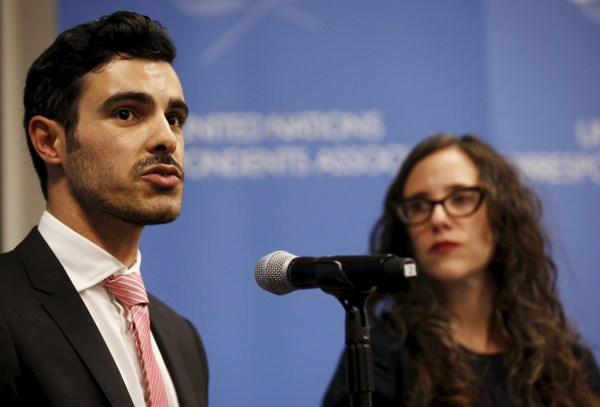 Image: Gay Syrian refugee Nahas speaks as Stern, Executive Director of the International Gay & Lesbian Human Rights Commission looks on, at a news conference at the UN headquarters in New York
