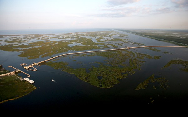 Image: The $1.1 billion Lake Borgne Surge Barrier stands on August 24, 2015 in New Orleans, Louisiana.