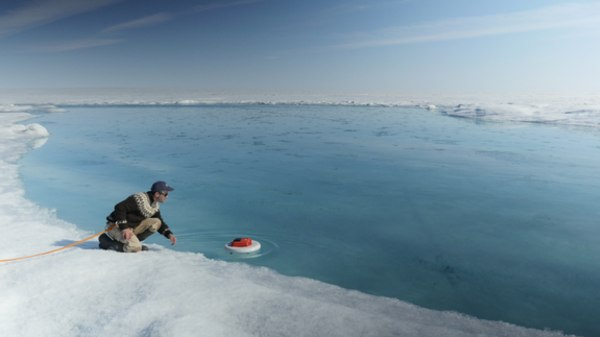 Image: Autonomous drifter deployed in a meltwater river on surface of Greenland ice sheet