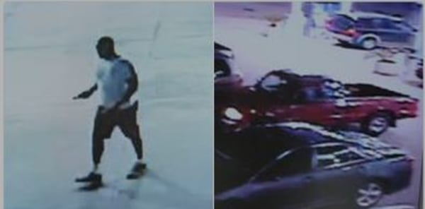 Image: Surveillance video of the suspect and his vehicle, from Harris County Sheriff's Office