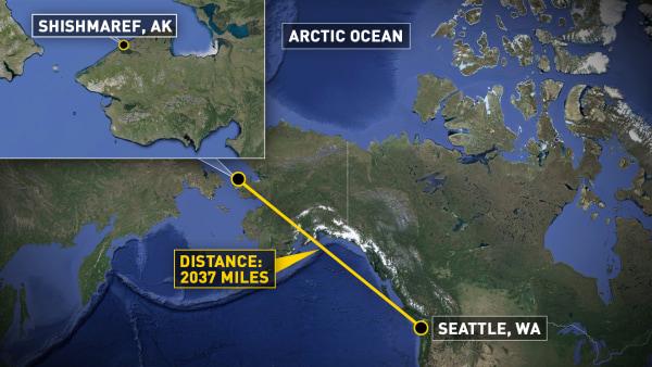 Image: A map shows the location of Shishmarek, Alaska.