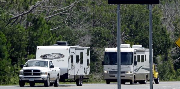 Photo: Recreational vehicles on the road in Nags Head, North Carolina.