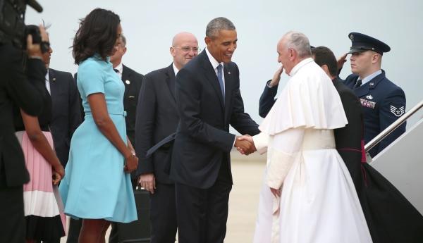 Image: Barack Obama, Michelle Obama, Pope Francis