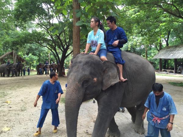 Image: Natthanan Sukon riding an elephant