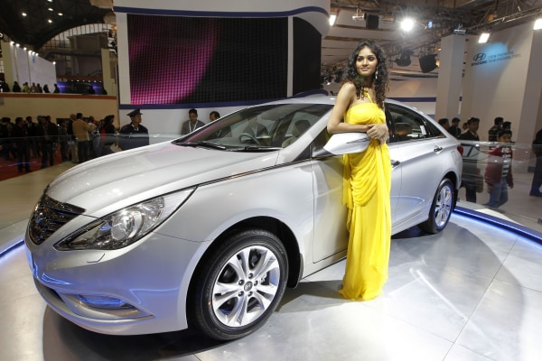 Image: A Hyundai Sonata on display at an auto expo in India.