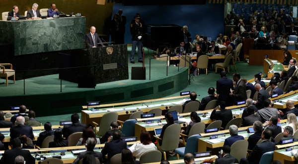 Image: Russian President President Vladimir Putin addresses the 70th session of the United Nations